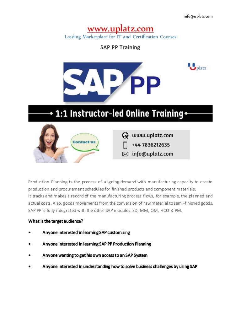 sap production planning online course