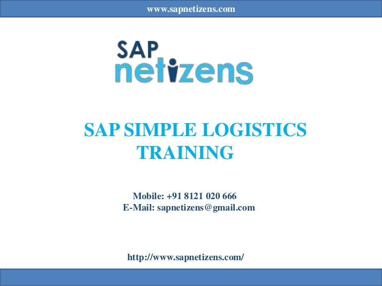SAP Simple logistics training|s/4 hana course | SAP Netizens