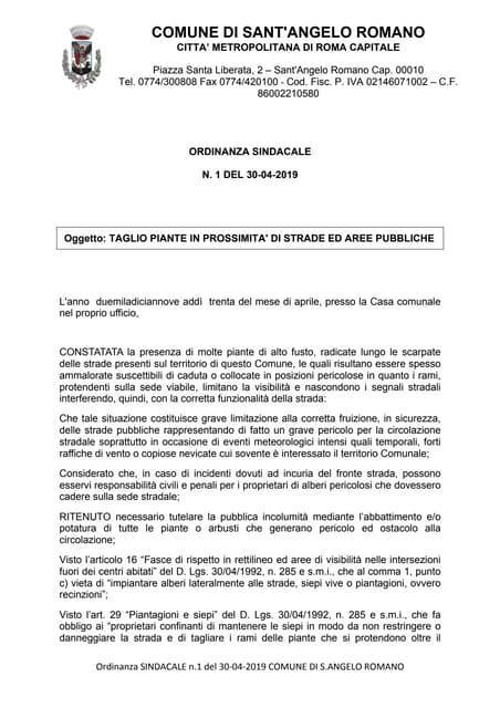Sant'Angelo Romano - Taglio Piante in Prossimità di Strade ed Are Pubbliche