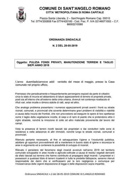 Sant'Angelo Romano - Pulizia Fondi Privati, Manutenzione Terreni e Taglio Siepi - Anno 2019