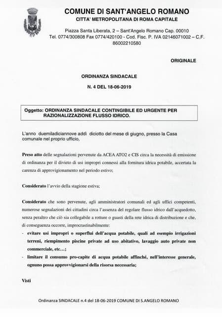Sant'Angelo Romano - Ordinanza Comunale Contingibile ed Urgente per Razionalizzazione Flusso Idrico