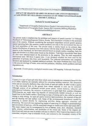 impacts of granite quarry onhuman life and environmenta case study of vellarad panchayat of