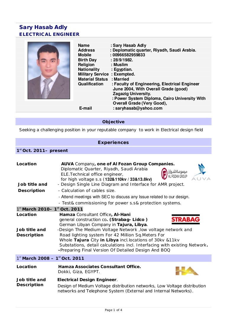 Electrical Engineer Resume Word Format Mechanical Electrical