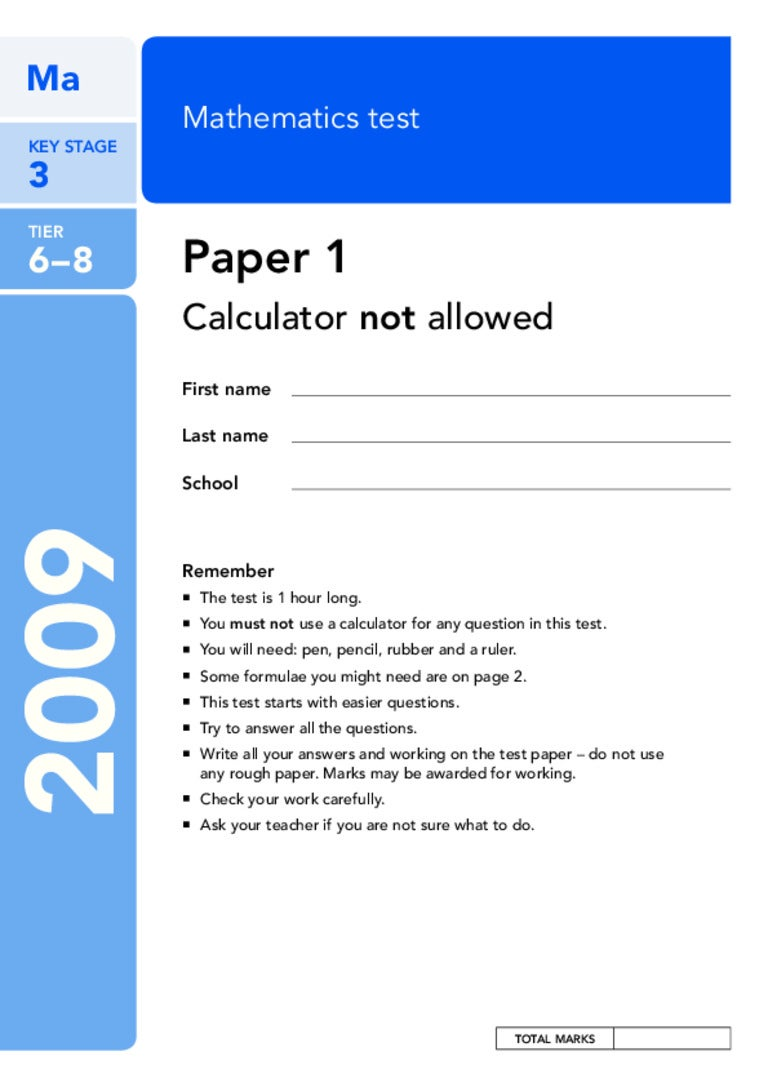 ks3 mathematics sats past papers 2012 - practice papersbuy ks3 practice papers, ks3 revision guides & ks3 revision books at examninjacouk award winning website to get year 9 sats revision books, educational books, science revision guides & more.