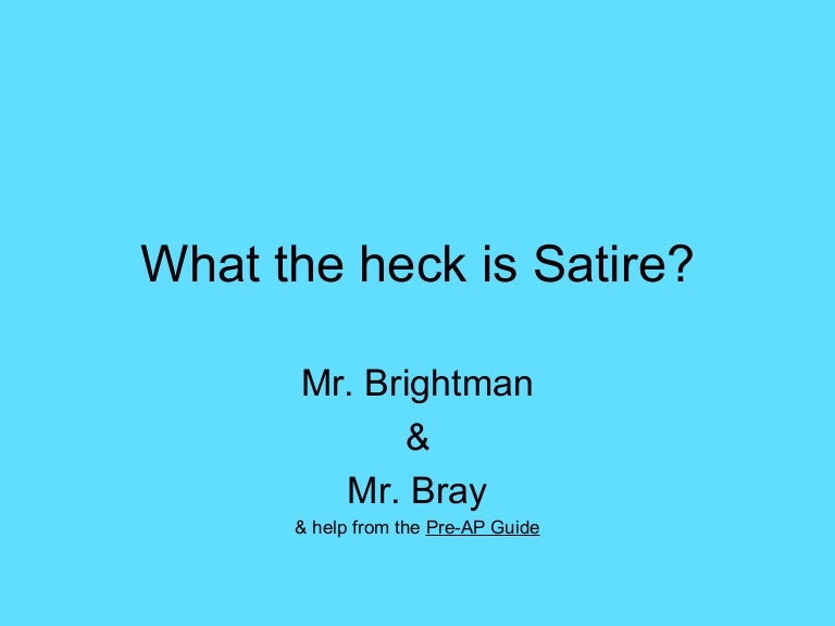 Satire Literary Terms