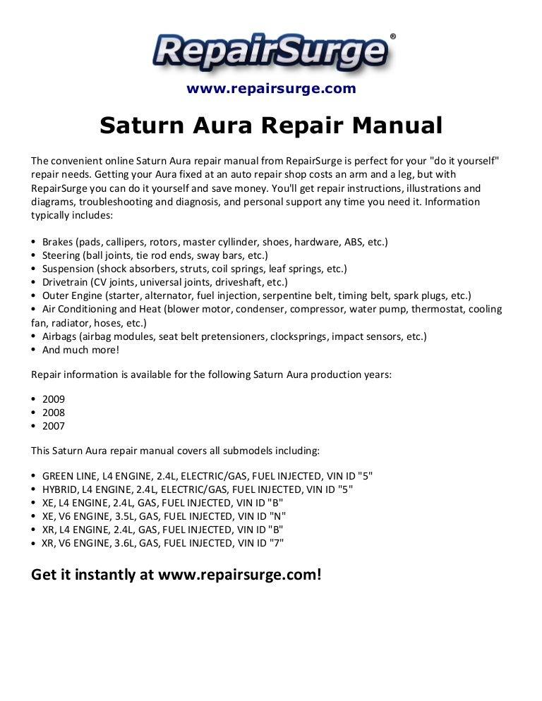 saturn aura repair manual 2007 2009  slideshare