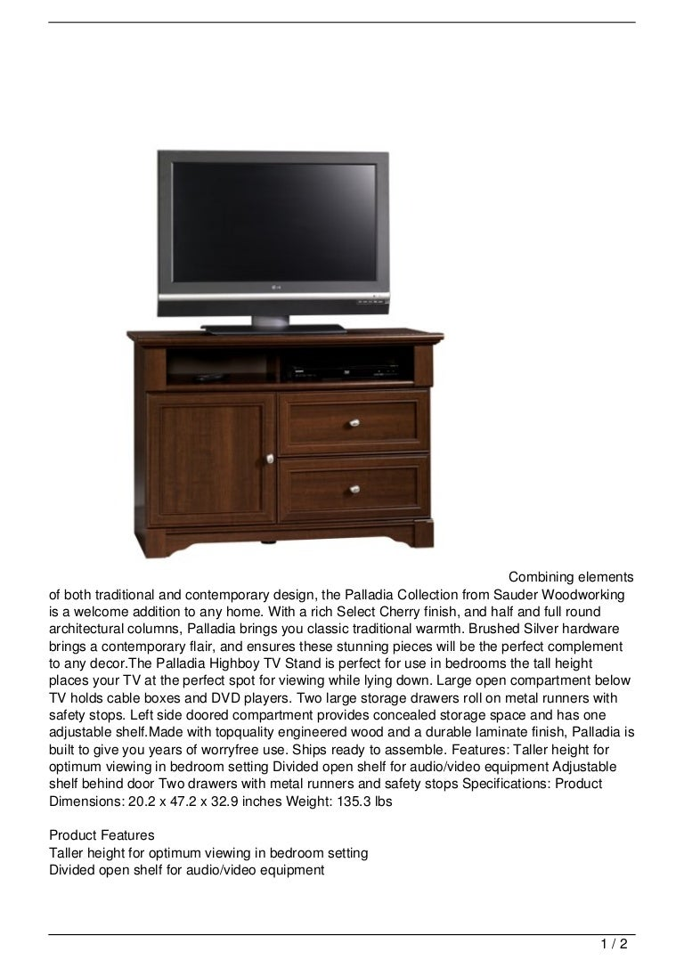 Sauder Palladia Highboy Tv Stand Select In Cherry Finish