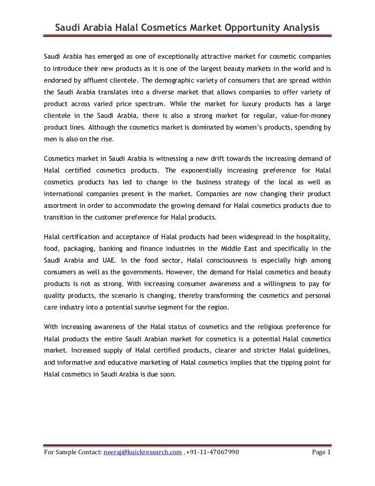 Saudi arabia halal cosmetics market opportunity analysis