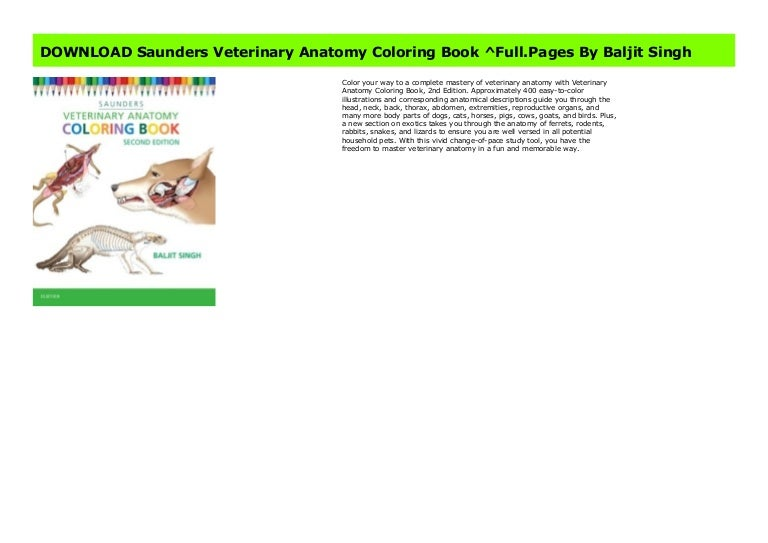 - DOWNLOAD Saunders Veterinary Anatomy Coloring Book ^Full.Pages By Bal…
