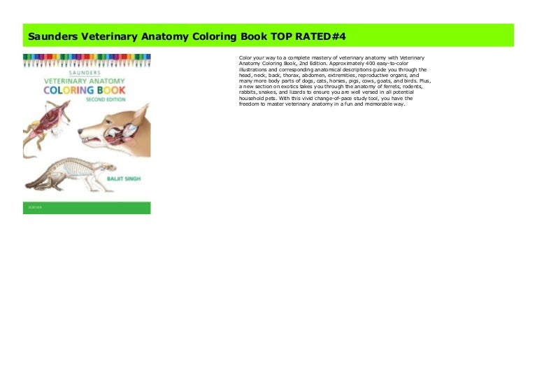 Saunders Veterinary Anatomy Coloring Book Top Rated 4