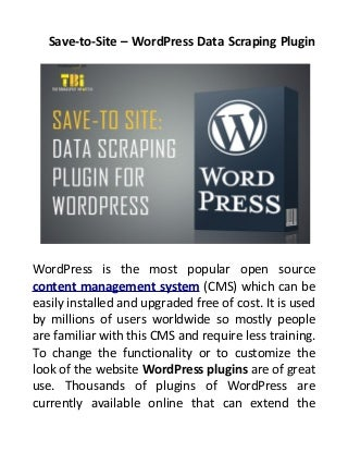 Save to- Site - Word Press Data Scraping Plugin