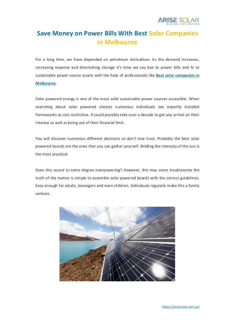 Best Solar Companies >> Save Money On Power Bills With Best Solar Companies In
