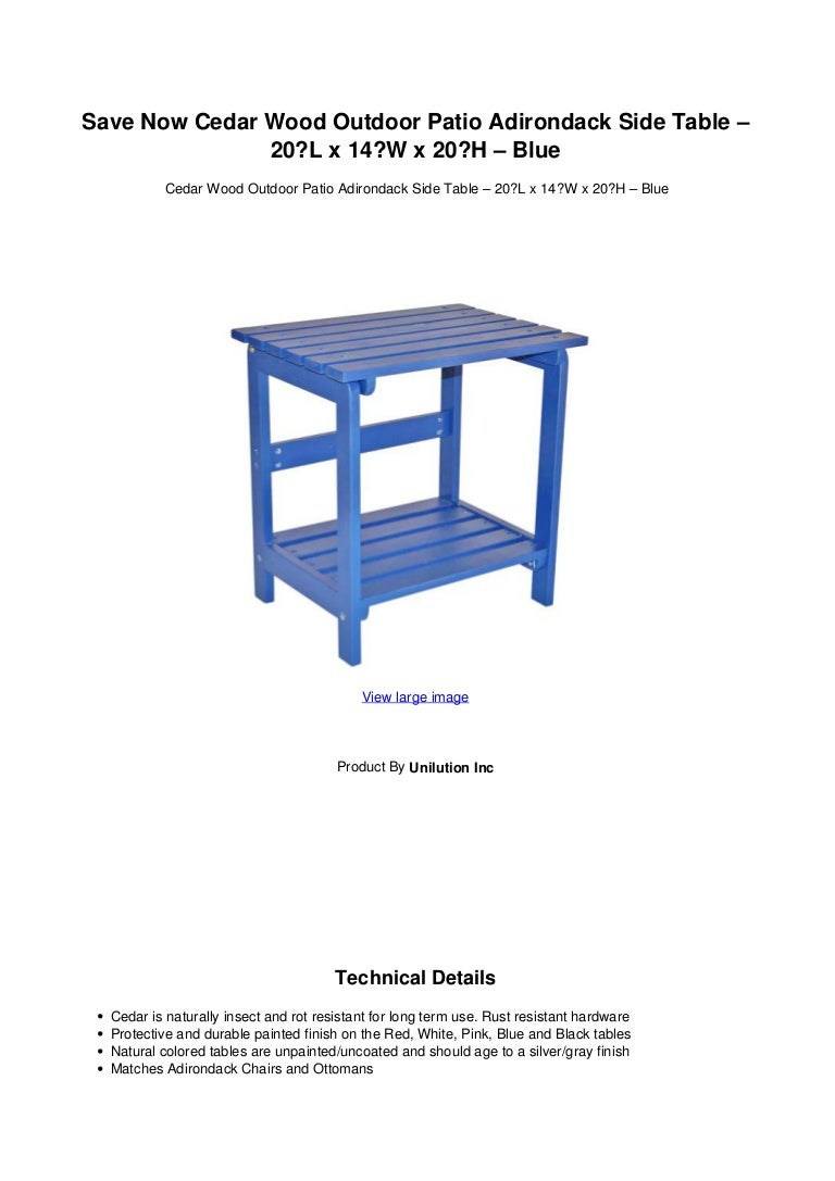 Save Now Cedar Wood Outdoor Patio Adirondack Side Table 20 L X 14w