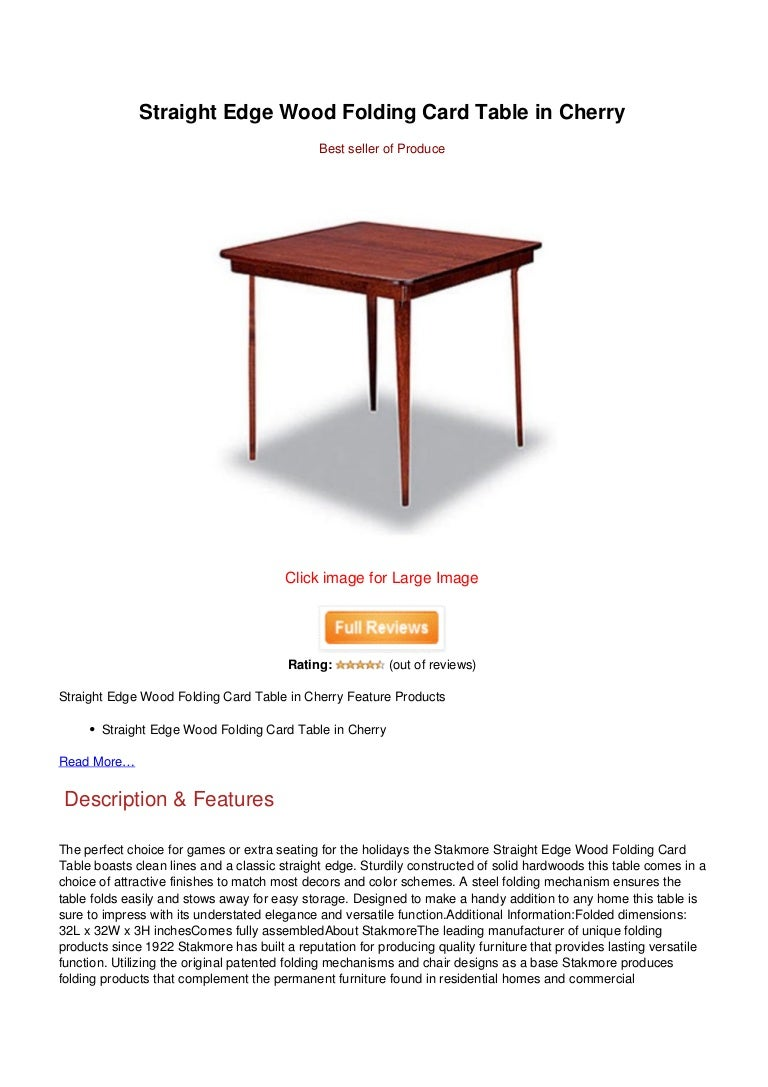 Save Straight Edge Wood Folding Card Table In Cherry