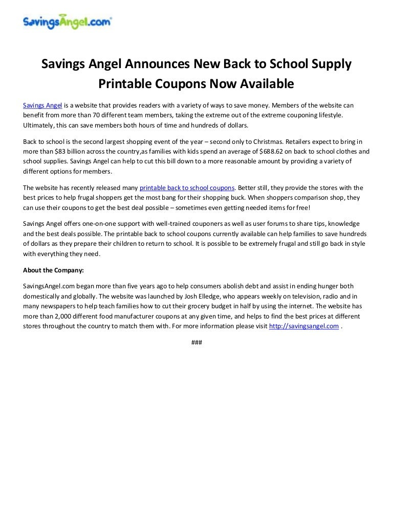 photo regarding School Supplies Printable Coupons called Personal savings Angel Announces Fresh Back again towards College or university Offer Printable