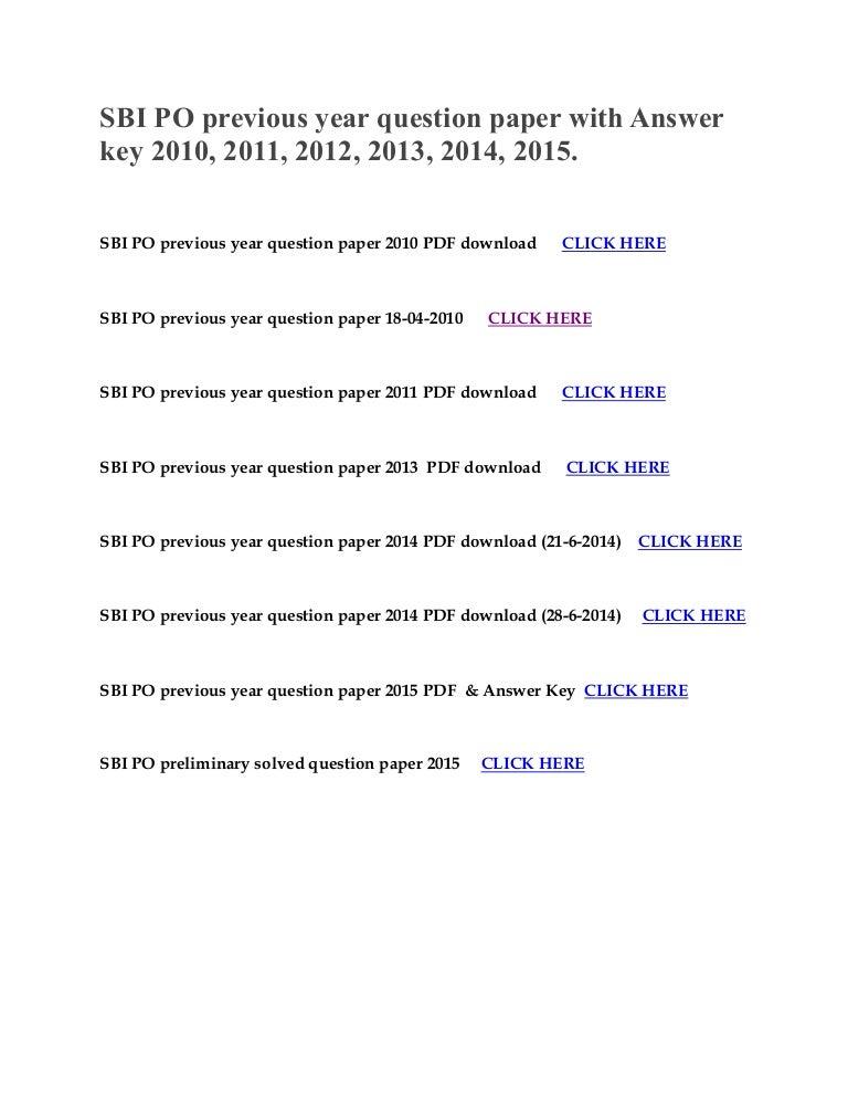 Bank Po Question Paper 2015 Pdf