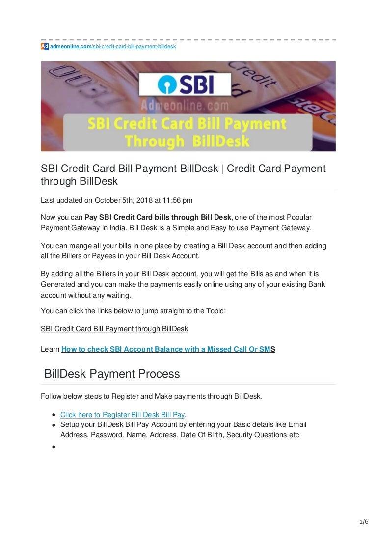 Sbi Credit Card Bill Payment Billdesk Pay Sbi Credit Card