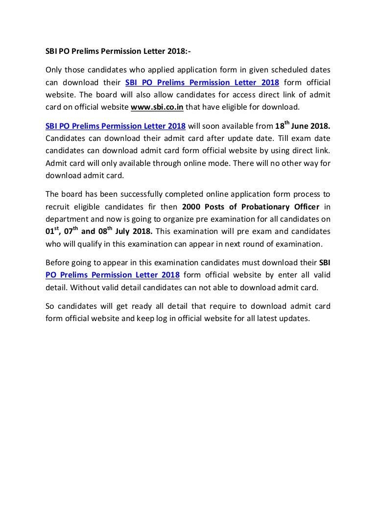 sbi po prelims permission letter 2018