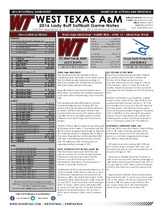 WT Softball Game Notes (3-31-16)