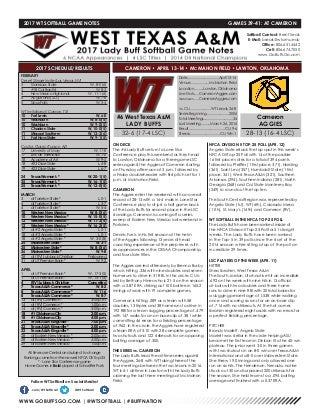 WT Softball Game Notes (4-12-17)