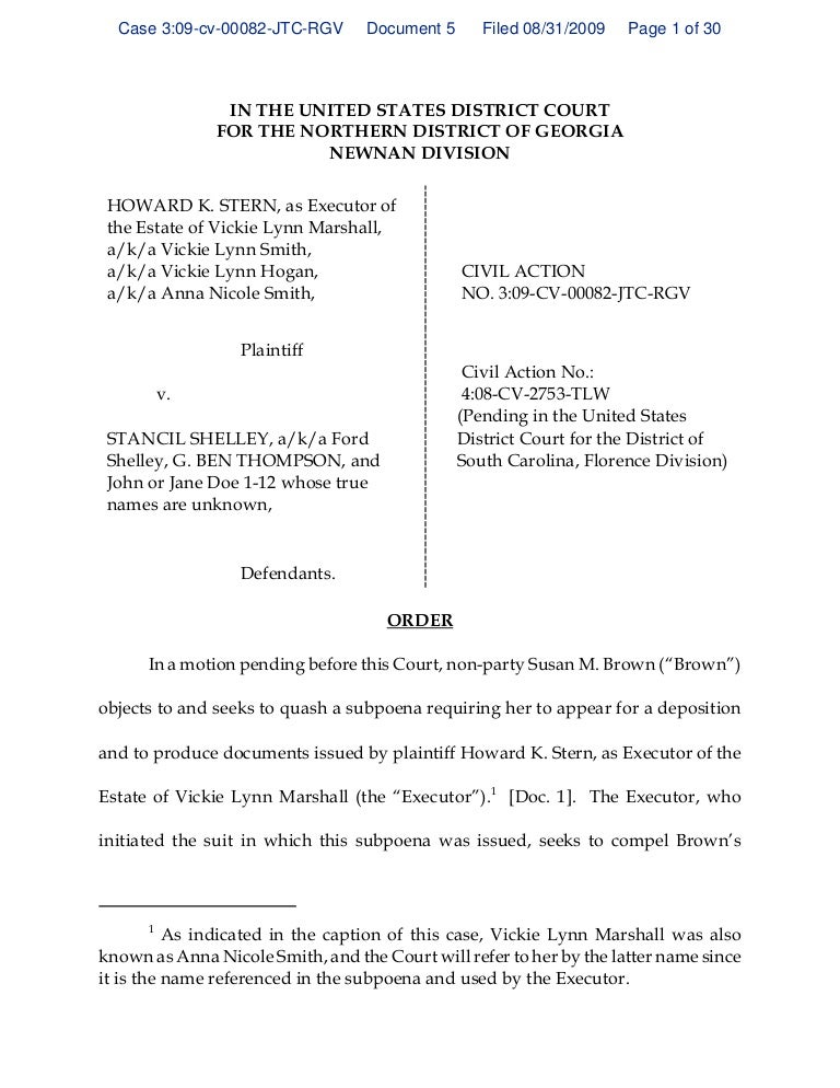 Georgia Order Denying Quash Subpoena Of S Brown