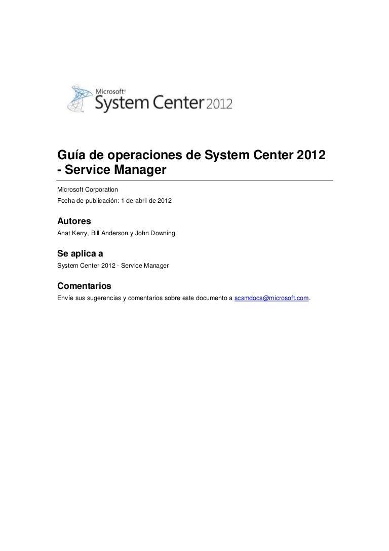 Guía de operaciones de Service Manager 2012 - Español