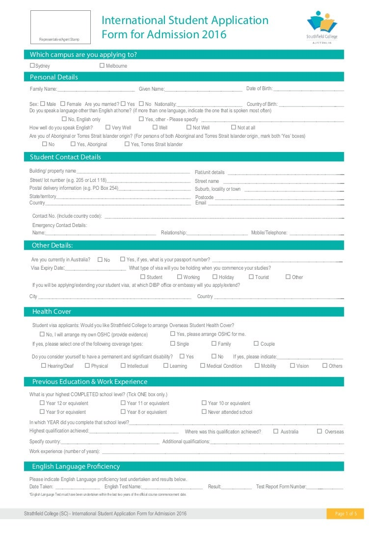 Strathfield College Sc 2016 Application Form Email