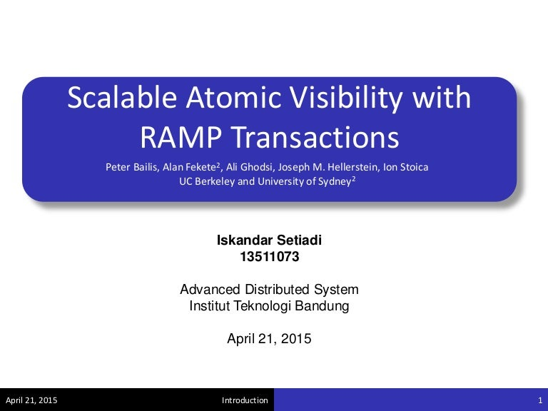 Review scalable atomic visibility with ramp transactions toneelgroepblik Choice Image