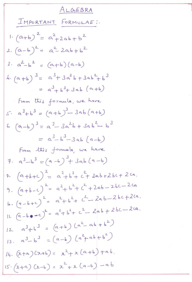 Algebra Important Formulae
