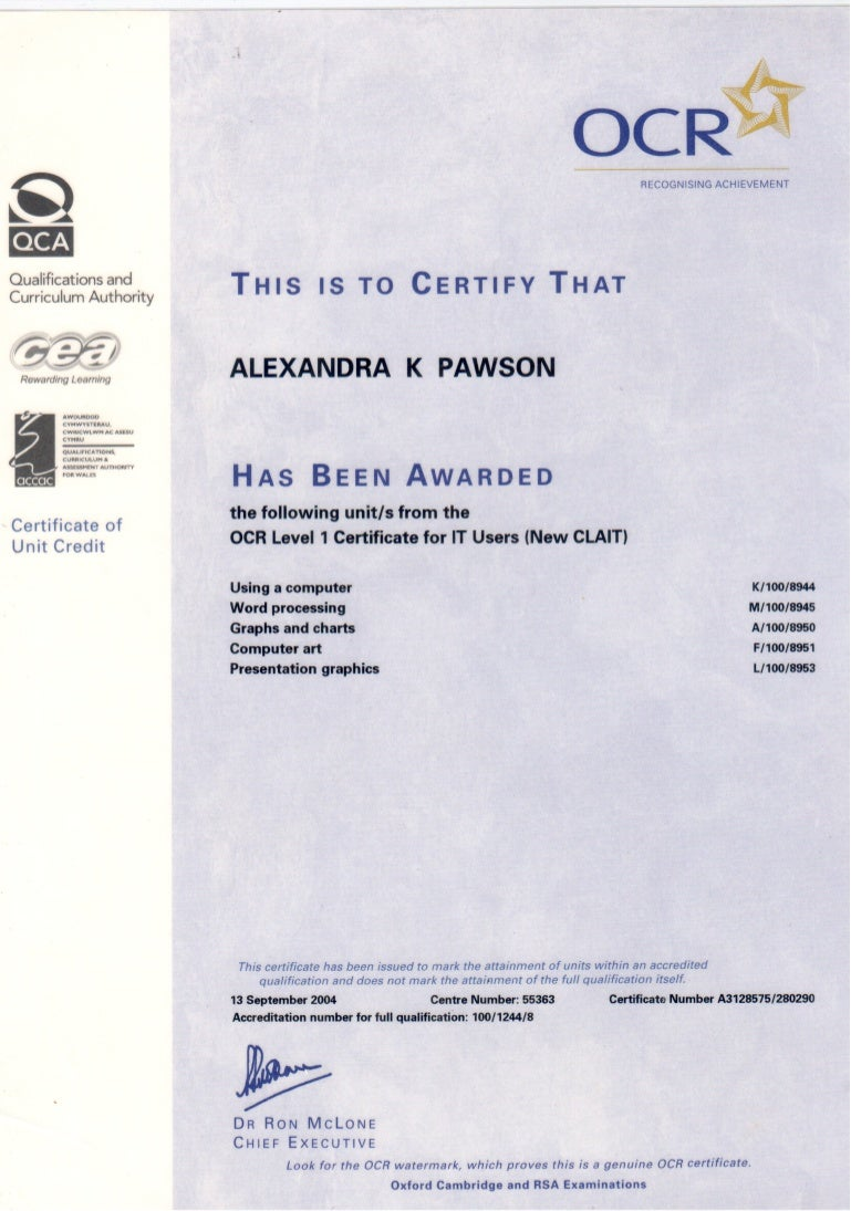 ITQ Certificate for IT Users Level 2
