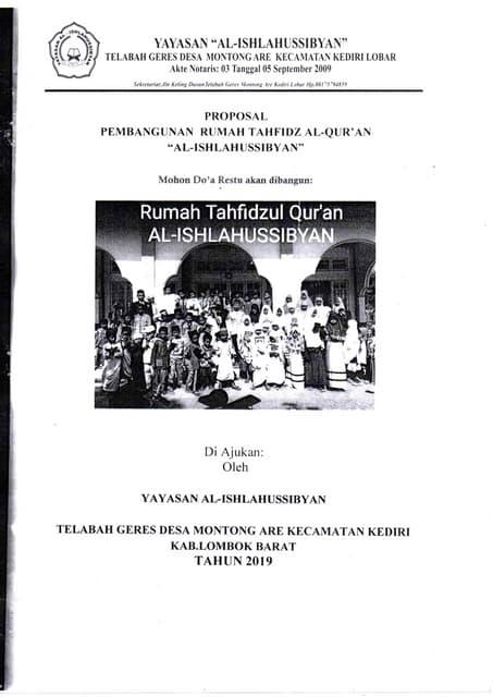Proposal Rumah Tahfidz Lombok