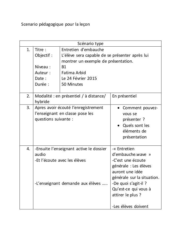 Scenario pédagogique pour la leçon