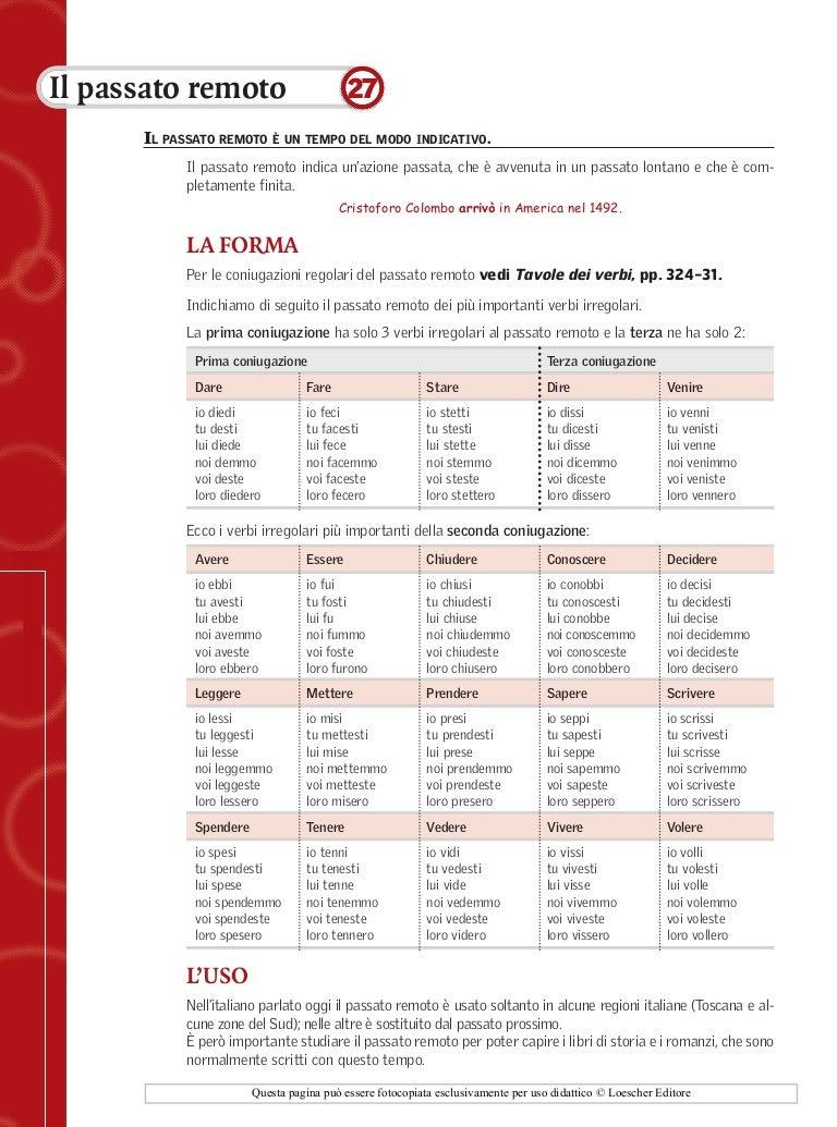 Scheda27 passato remoto - Tavola dei verbi inglesi ...