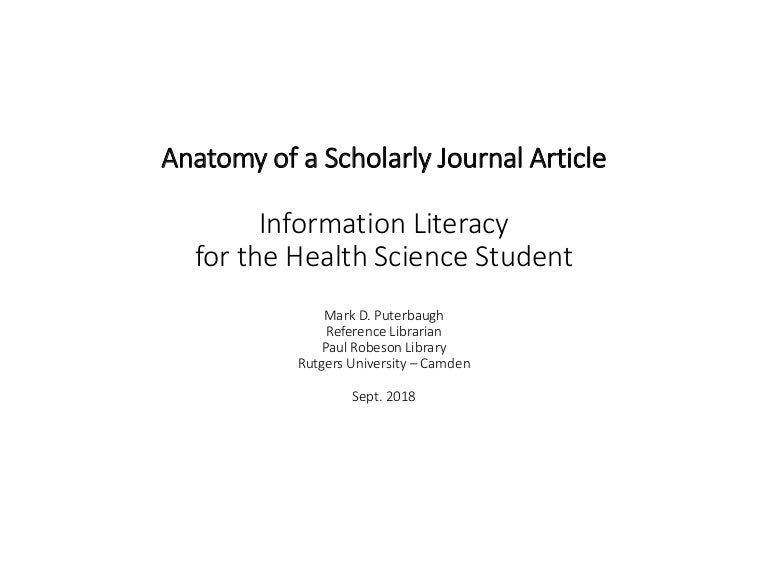 Anatomy Of A Scholarly Journal Article