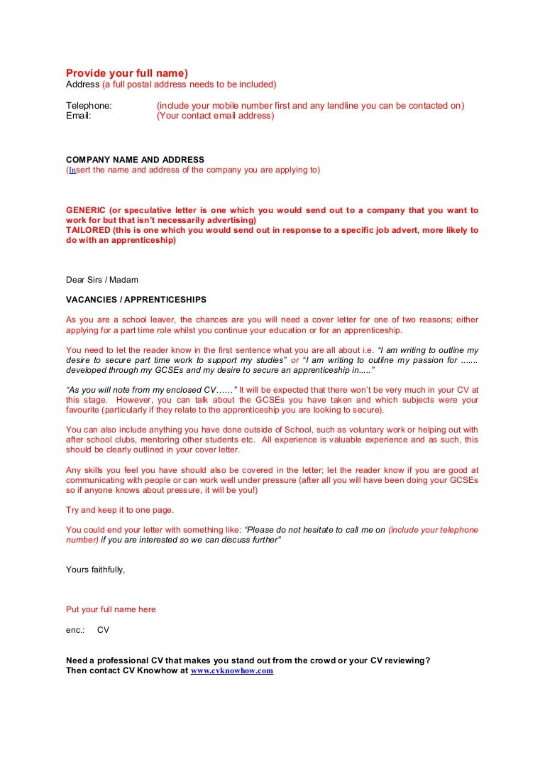 school leaver cover letter template - Cover Letter For Apprenticeship