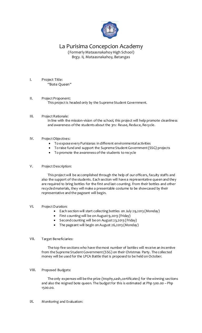 School Project Proposal Template Sasolo Annafora Co