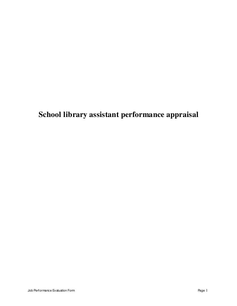 Schoollibraryassistantperformanceappraisal 150510123216 Lva1 App6892 Thumbnail 4?cbu003d1431261180.  Librarian Resume Template. Library Assistant ...