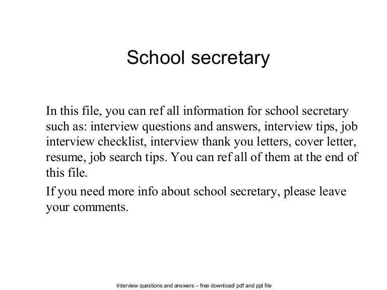 school secretary cover letter - Ex