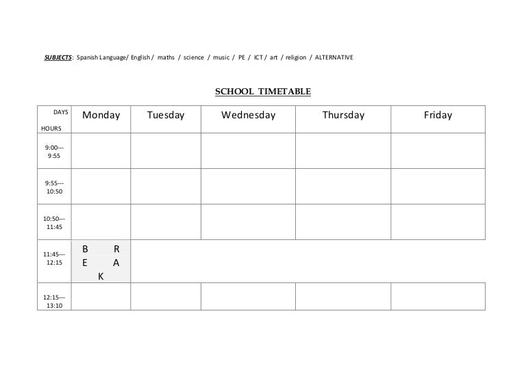 Timetable Template School Free Download School Daily Schedule