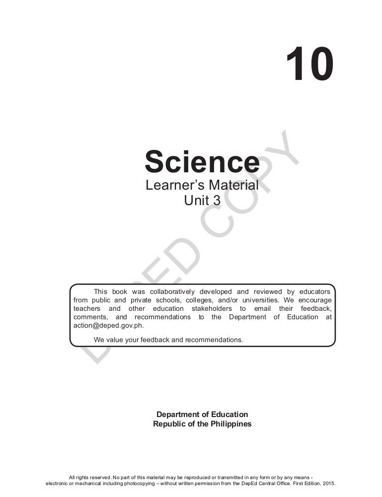 Unit 3 Science 10 Learner S Material