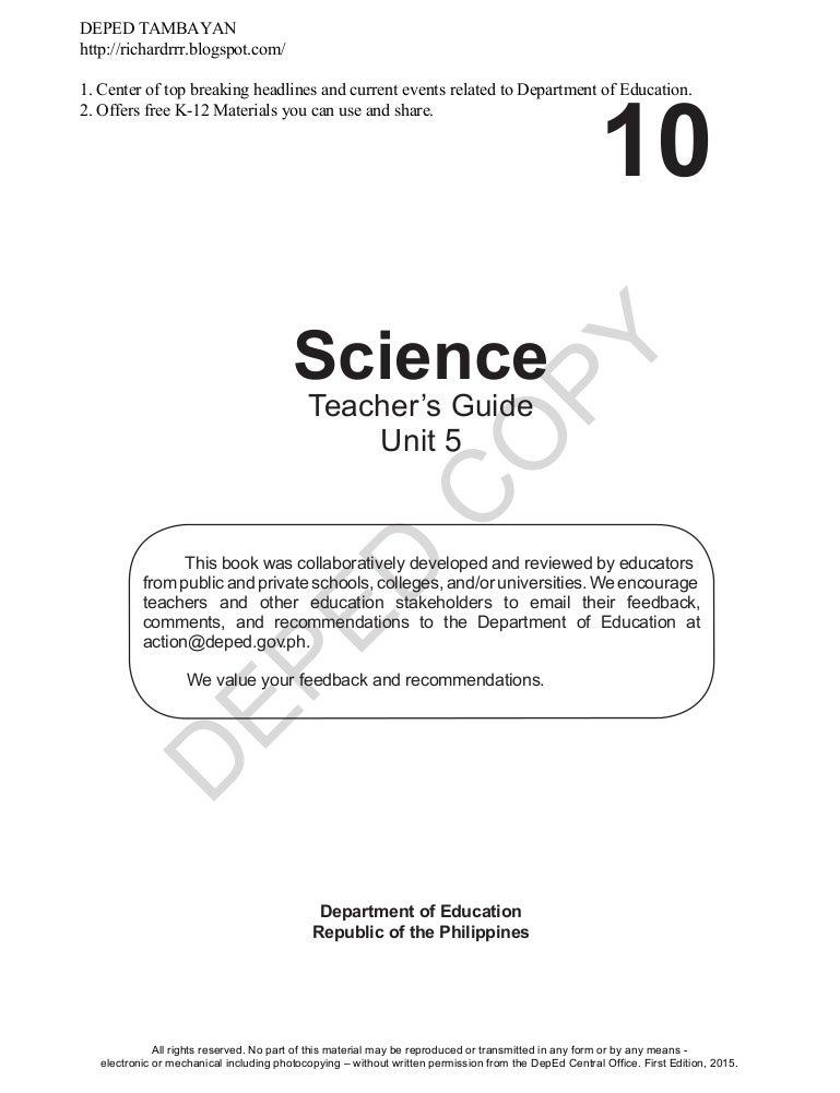 Science learners module grade 10 unit 3