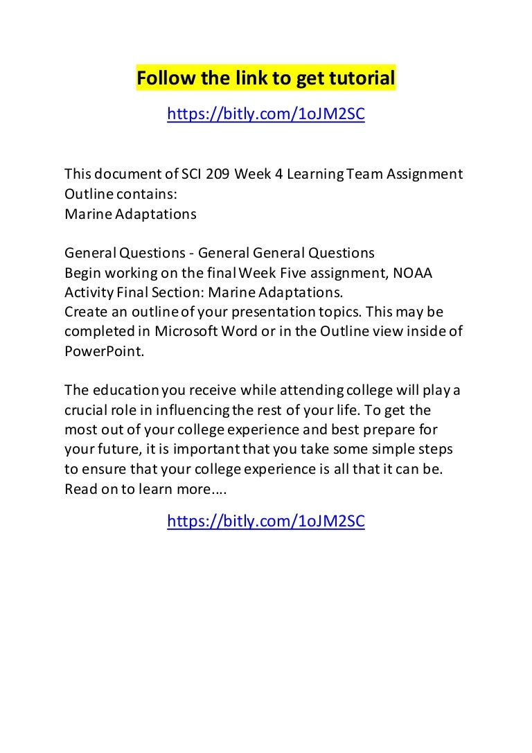sci 209 week 4 learning team assignment outline