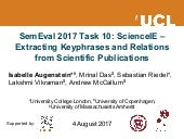 SemEval 2017 Task 10: ScienceIE – Extracting Keyphrases and Relations from Scientific Publications