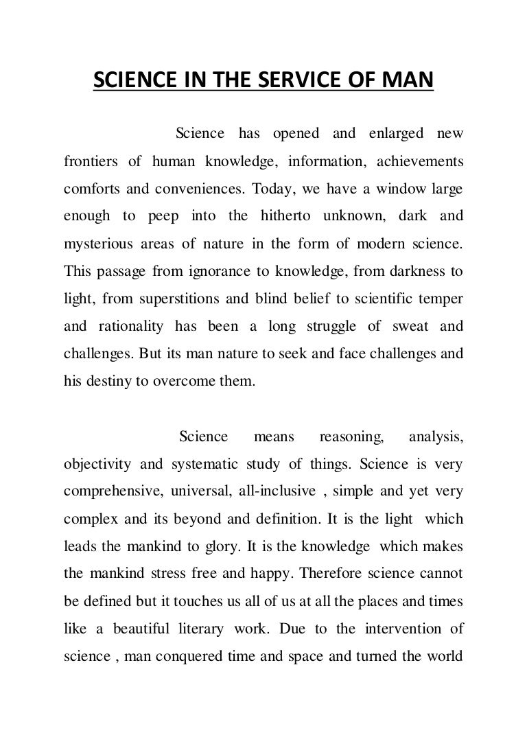 Essay On Science In Service Of Man