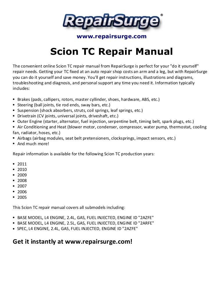 Scion tc repair manual 2005 2011