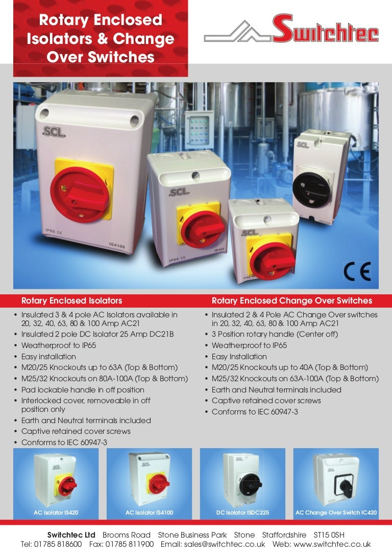 Scl Isolators Changeover Switch Brochure 4 Way Isolator
