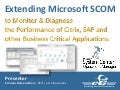 How to Extend Microsoft SCOM to Monitor & Diagnose the Performance of Citrix, SAP, and other Critical Business Applications