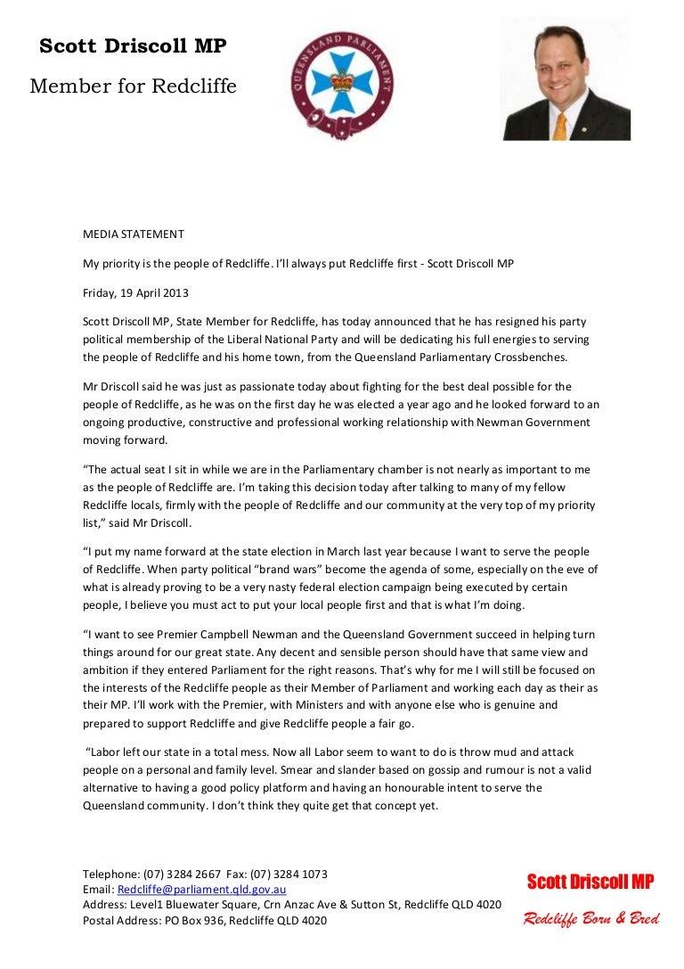 Scott driscoll mp media release 19 april 2013