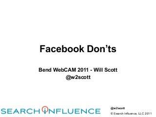 Facebook Don'ts at Bend Webcam