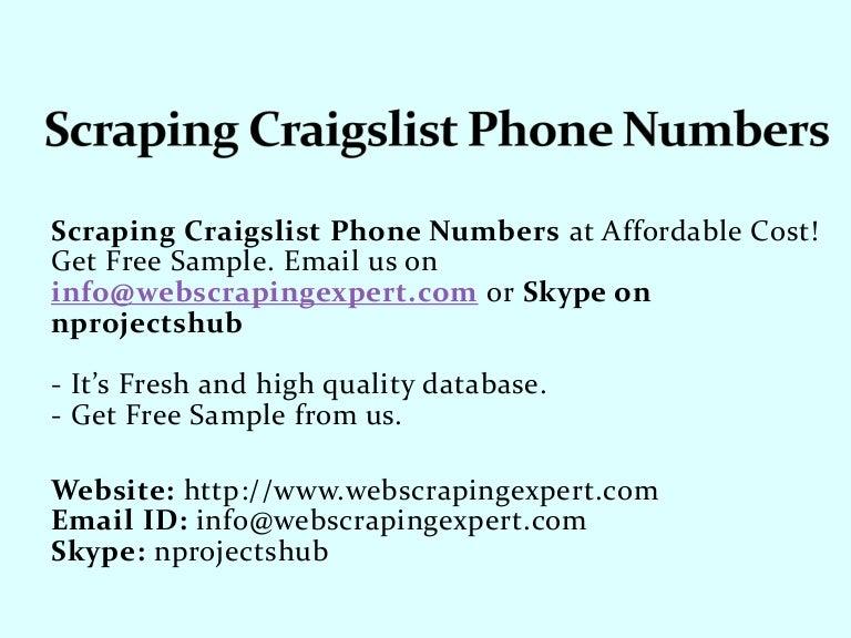 Scraping Craigslist Phone Numbers